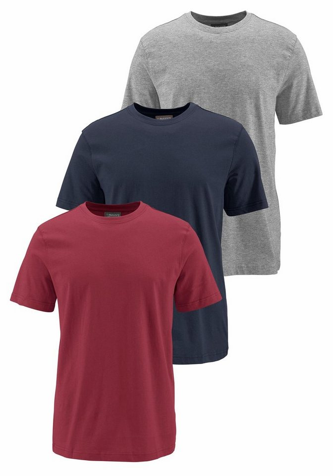 Man's World T-Shirt (Packung, 3 tlg.) in rot+marine+grau-meliert
