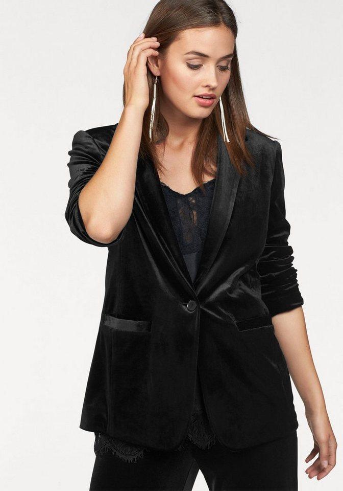 Laura Scott Blazer aus leicht glänzendem Samt in schwarz
