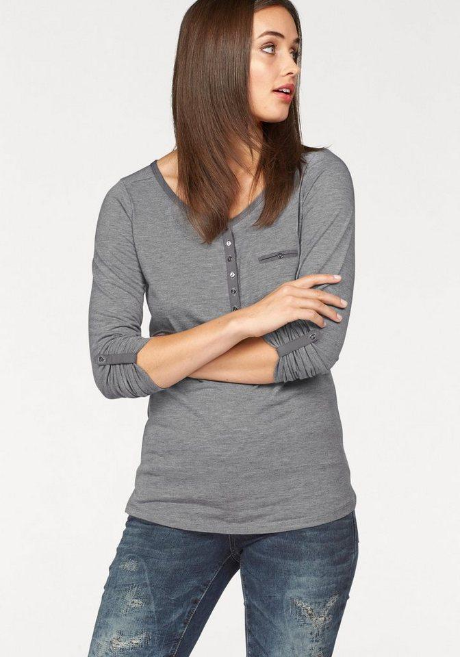 Laura Scott Langarmshirt mit Knopfleiste in grau-meliert