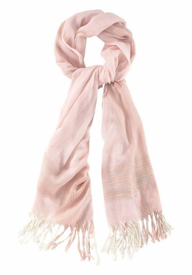 Passigatti Modeschal mit bunten Streifen in rosé