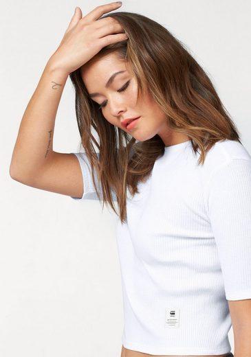 G-Star RAW T-Shirt, Cropped Shirt mit Rippenstruktur