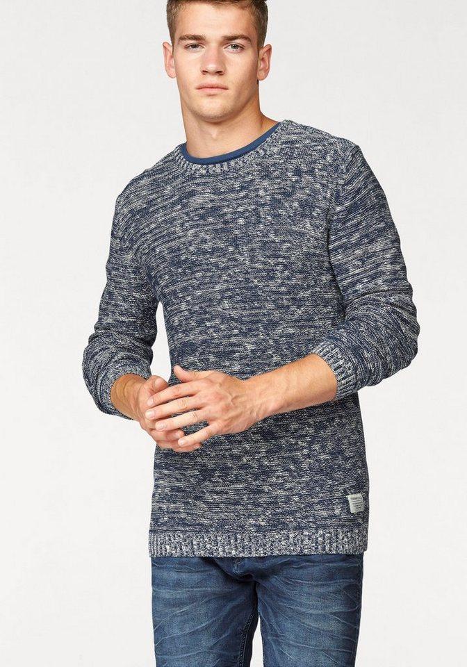 Tom Tailor Denim Rundhalspullover in blau-meliert