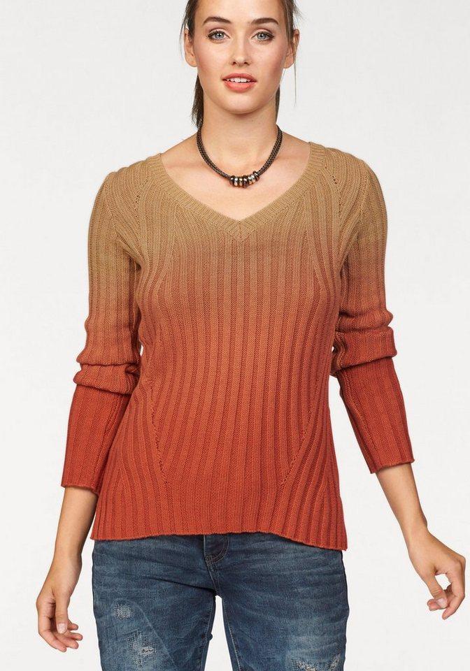 Laura Scott V-Ausschnitt-Pullover Mit Farbverlauf in orange-beige
