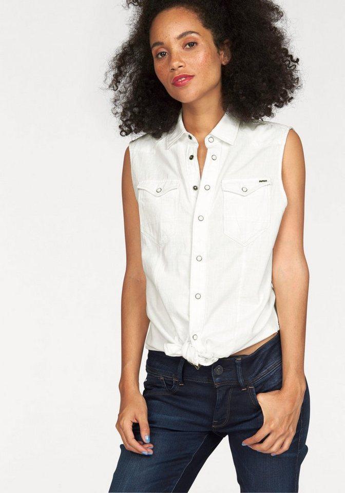 G-Star Jeansbluse »Tacoma Straight Shirt« mit coolen Teilungsnähten vorn in weiß