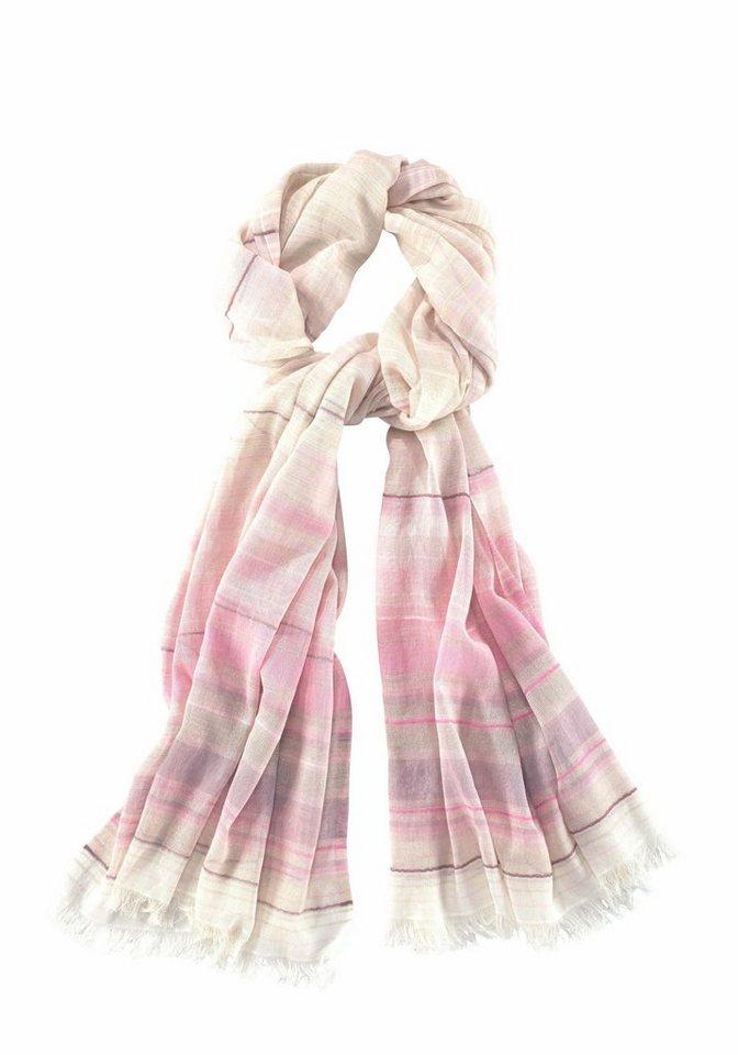 Passigatti Modeschal mit Glitzerstreifen in rosé