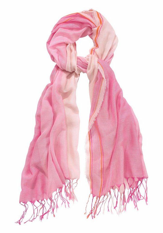 Passigatti Modeschal mit langen Fransen in pink