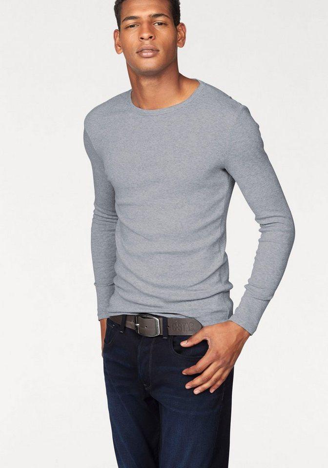 G-Star Langarmshirt Basic-Artikel aus blickdichter, hochwertiger Baumwollqualität in grau