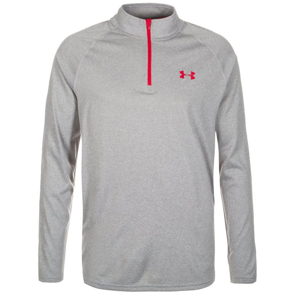Under Armour® HeatGear Tech 1/4 Zip Trainingsshirt Herren in hellgrau / rot