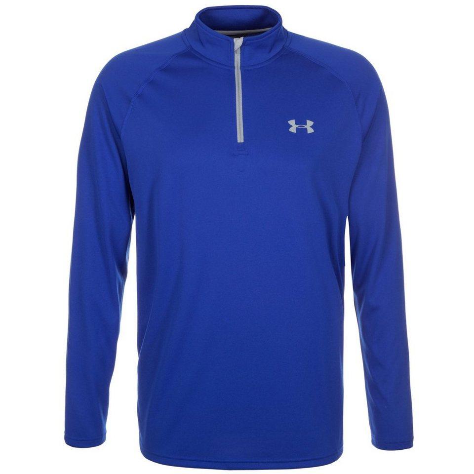 Under Armour® HeatGear Tech 1/4 Zip Trainingsshirt Herren in blau / grau