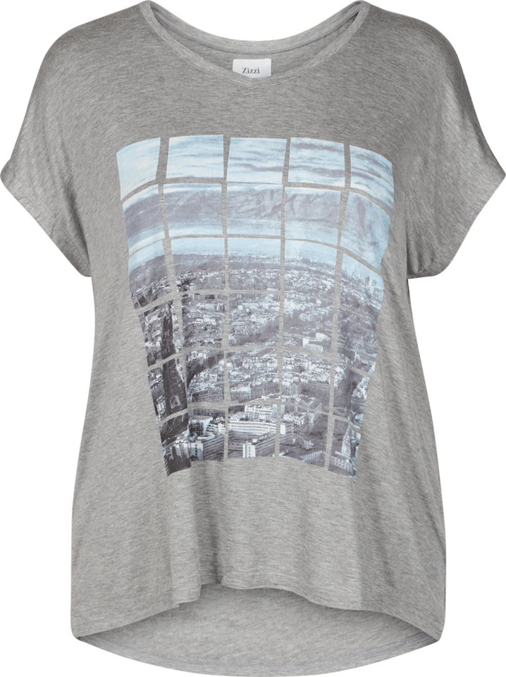 Zizzi T-Shirt in Grey Melange