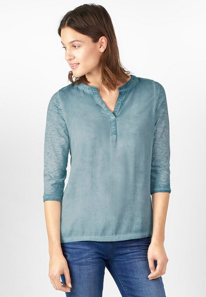 Street One Materialmix-Shirt Georgia in stone jade