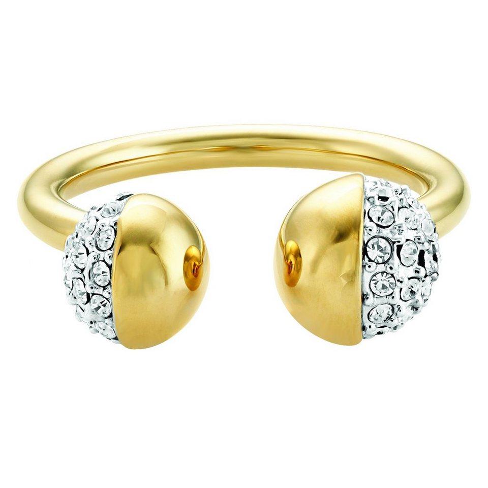 Buckley London Ring Messing vergoldet mit Kristallen in gelb