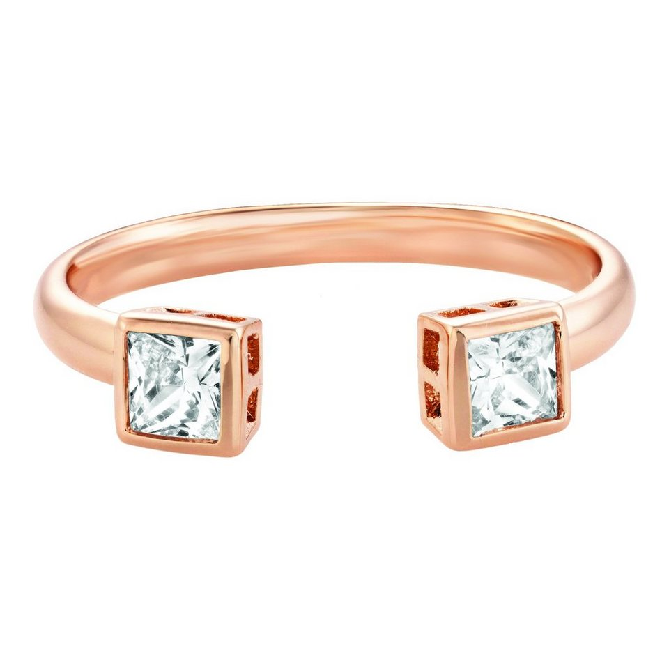 Buckley London Ring Messing rosévergoldet mit Zirkonia in rosa