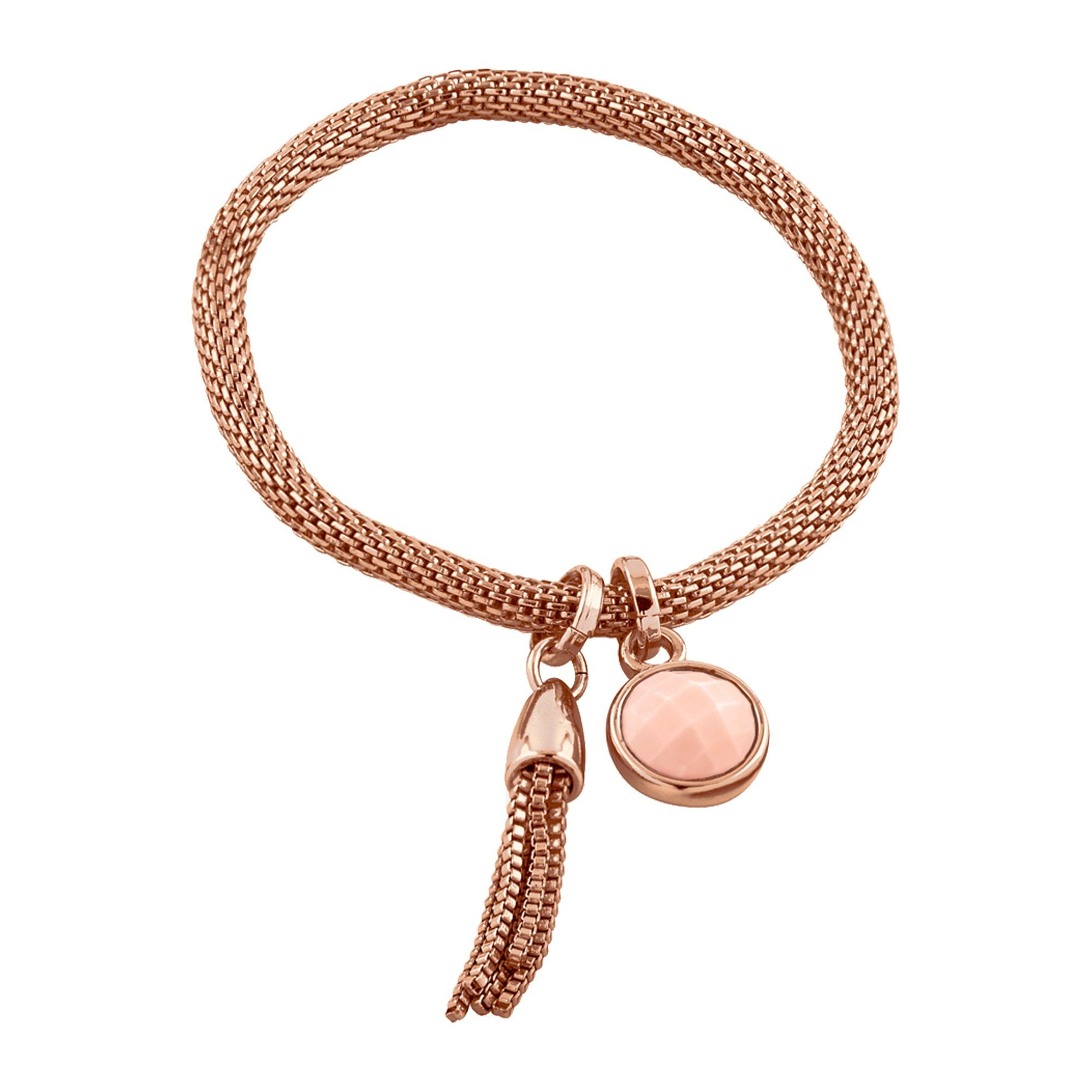 Buckley London Armschmuck Messing rosévergoldet mit Rosenquarz