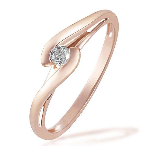 goldmaid Damenring Solitär Verlobungsring 585/- Rotgold 1 Brillant 0,08 c in rosegoldfarben