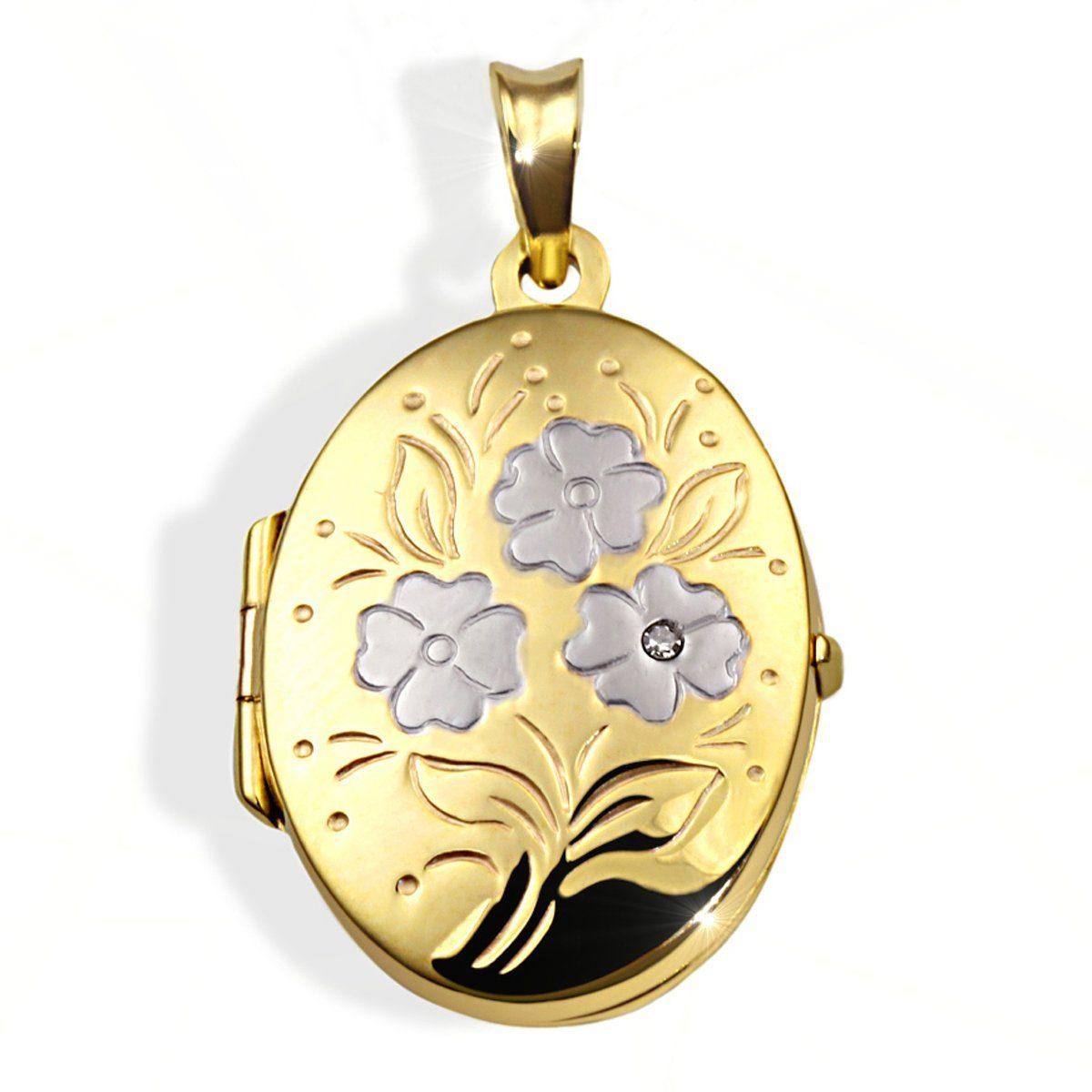 goldmaid Anhänger Medaillon Blumenmuster 333/- Gelbgold 1 Diamant 0,01 ct