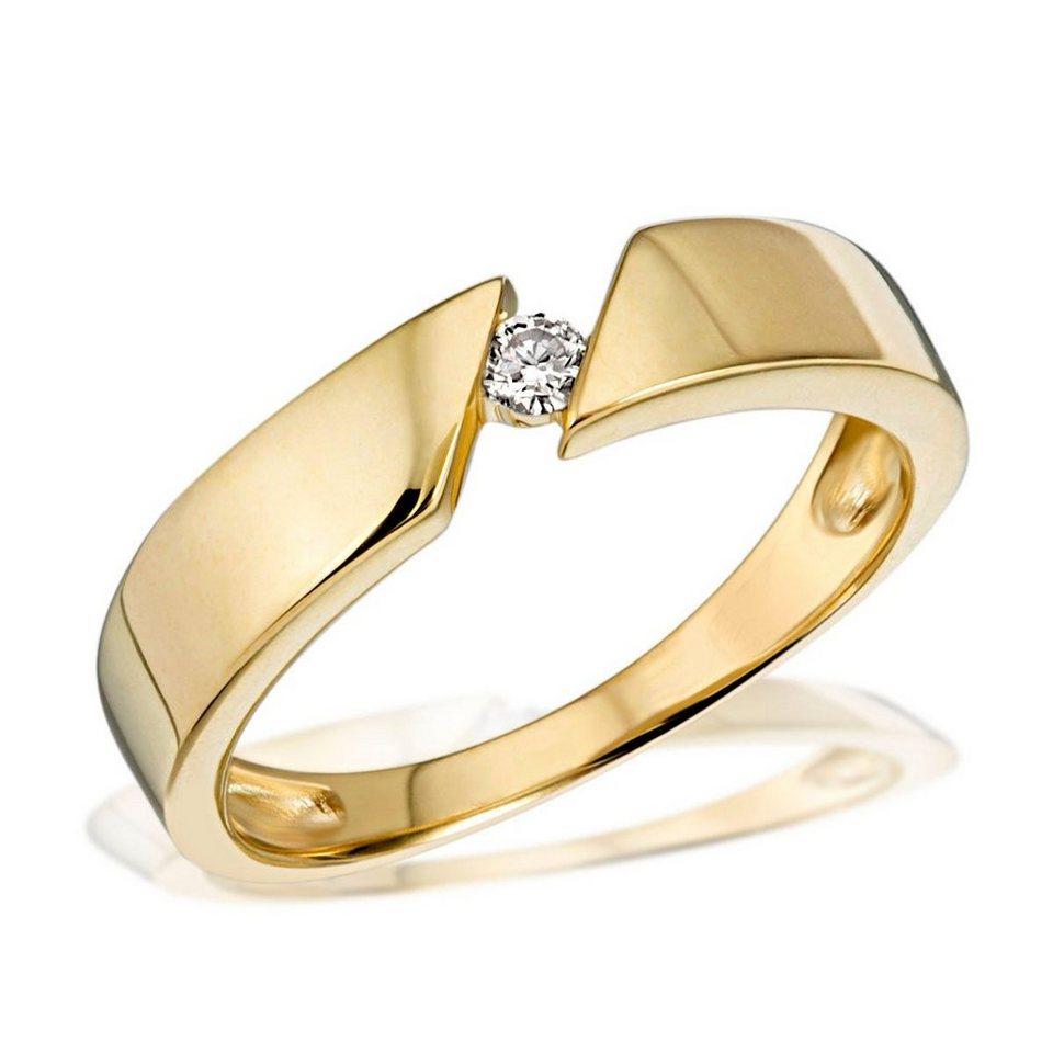 goldmaid Damenring Solitär 585/- Gelbgold 1 Brillant 0,07 ct. in goldfarben