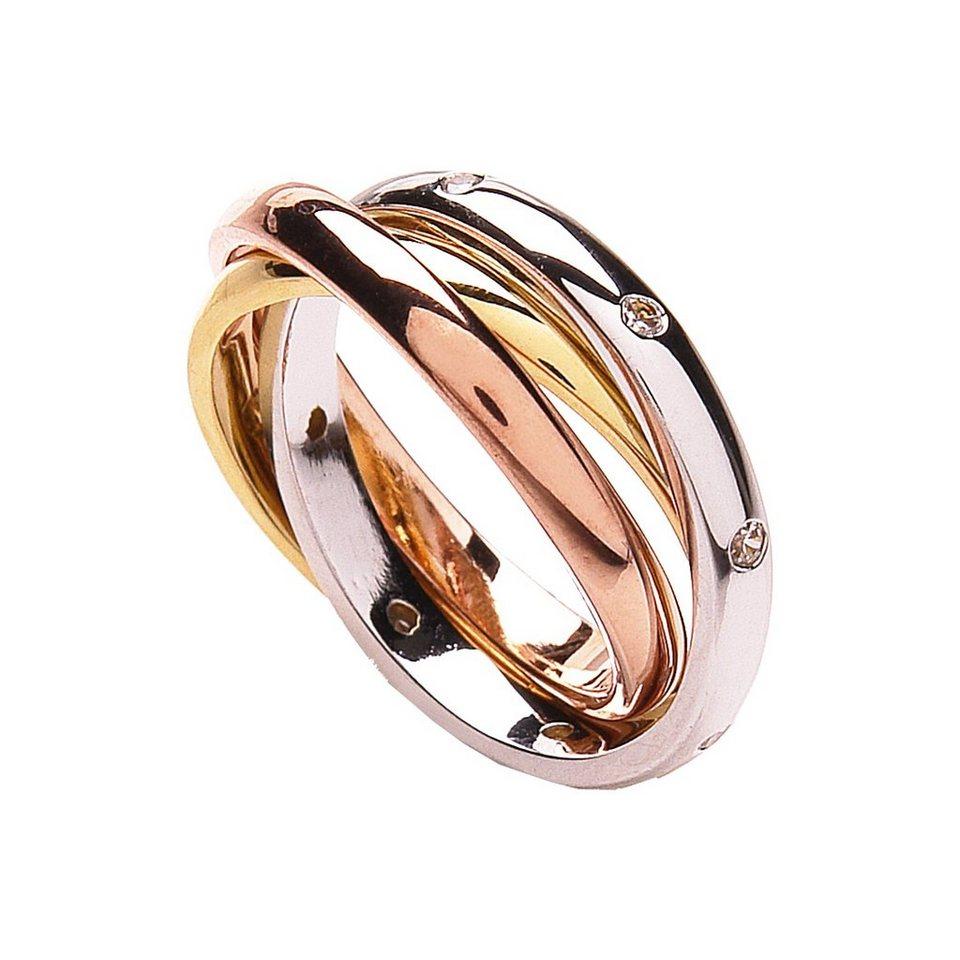 Buckley London Ring »Messing 3-farbig mit Kristallen« in mehrfarbig