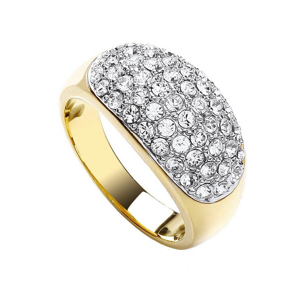 Buckley London Ring vergoldet und rhodiniert mit Kristallen in gelb