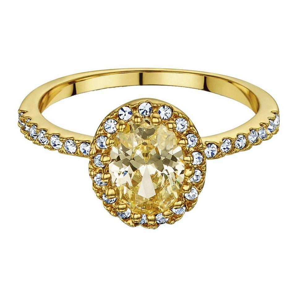 Buckley London Ring vergoldet mit Zirkonia und Kristallen in gelb