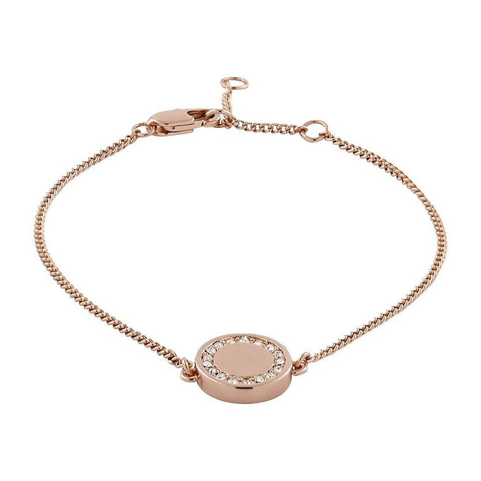 Buckley London Armschmuck Messing rosévergoldet mit Kristallen in rosa