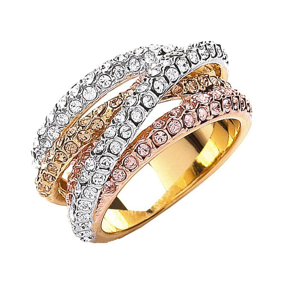 Buckley London Ring 3-fbg. vergoldet mit Kristallen in gelb