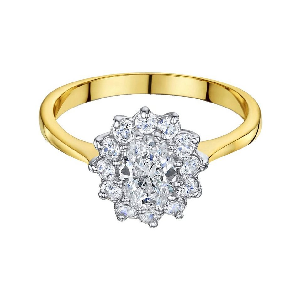 Buckley London Ring vergoldet mit Zirkonia in gelb