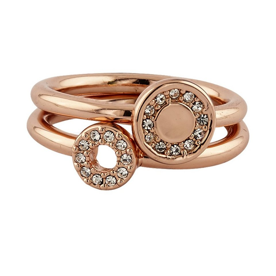Buckley London Ring-Set rosévergoldet mit Kristallen in rosa