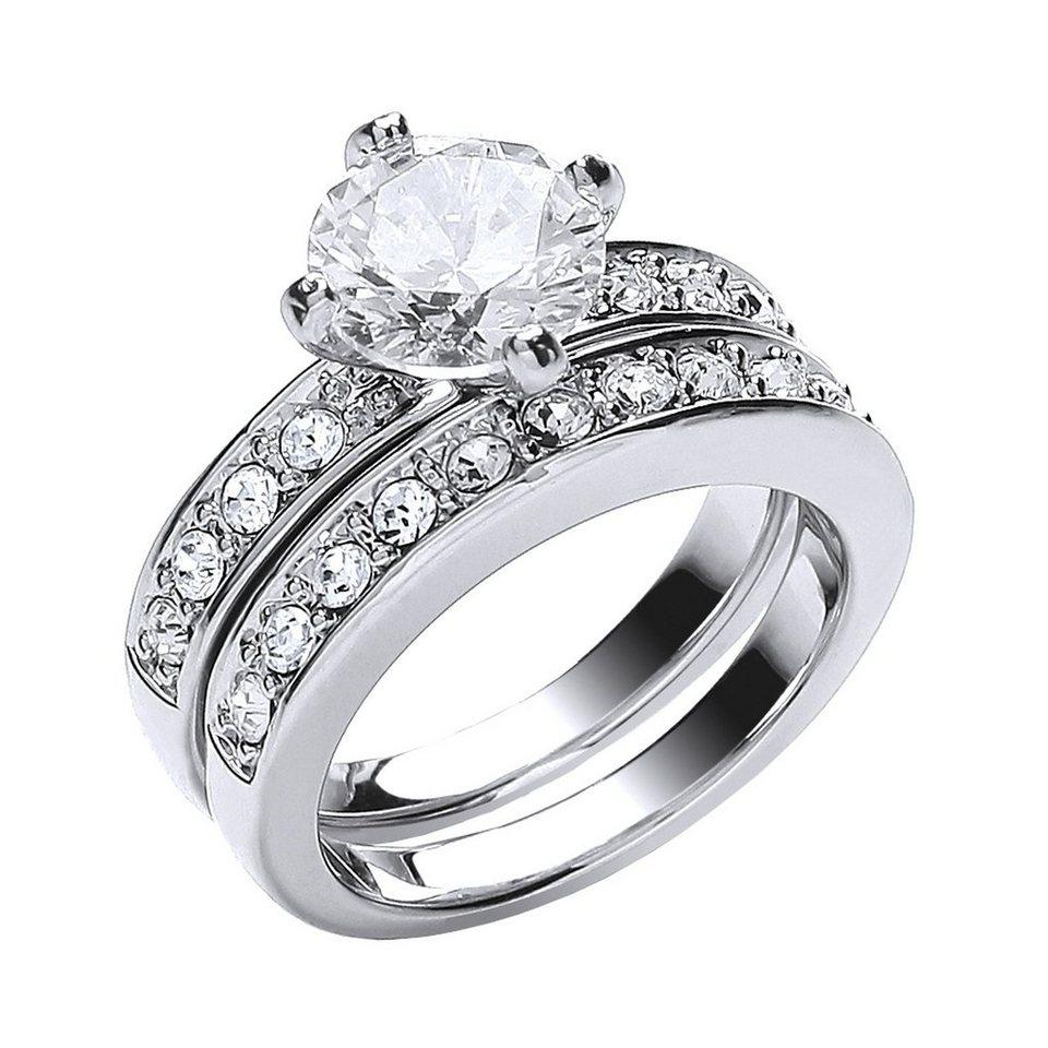 Buckley London Ring-Set rhodiniert mit Kristallen in Silbergrau