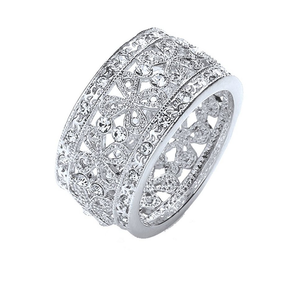 Buckley London Ring rhodiniert mit Kristallen in Silbergrau