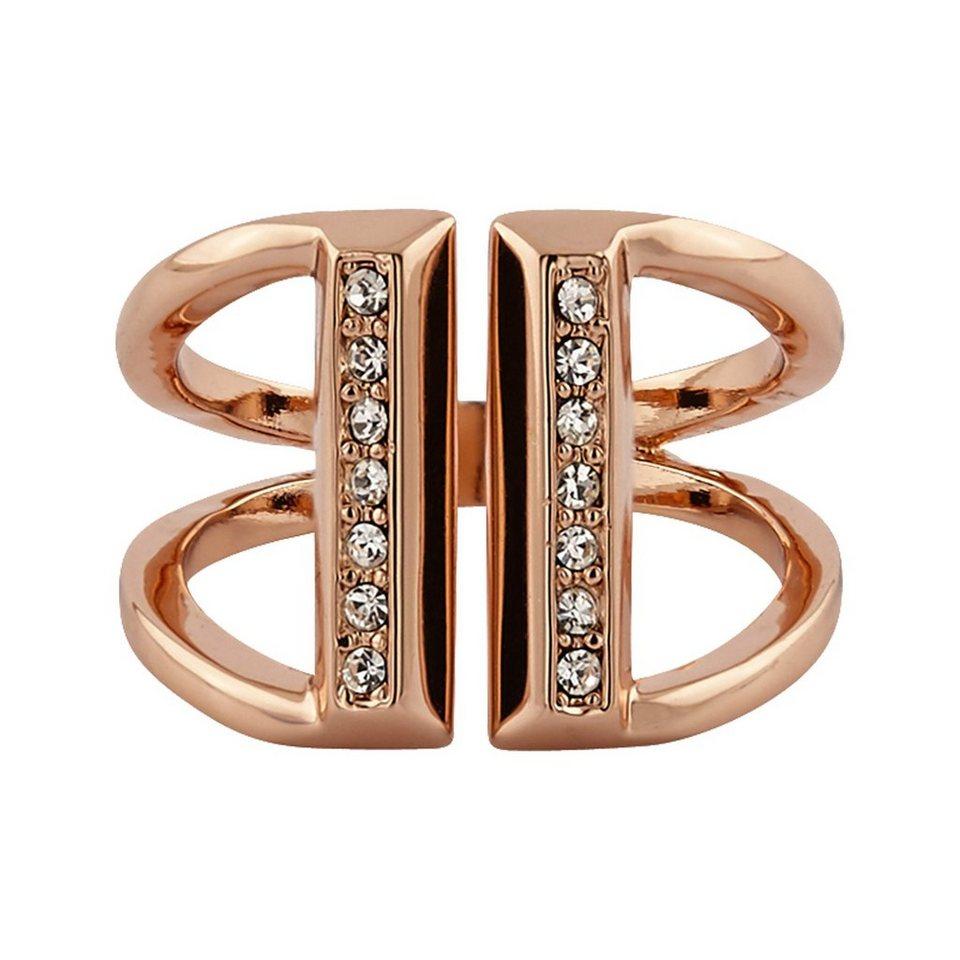 Buckley London Ring rosévergoldet mit Kristallen in rosa