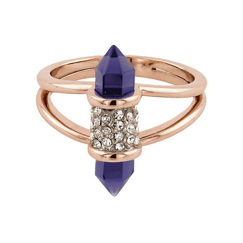 Buckley London Ring rosévergoldet mit Kristallen und Glas in rosa