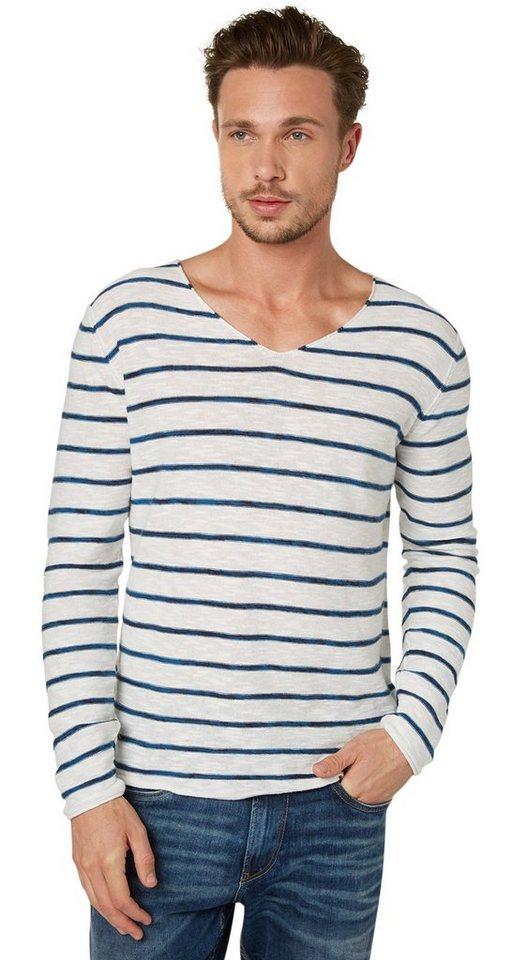 TOM TAILOR Pullover »V-Ausschnitt Pullover mit Streifen« in off white