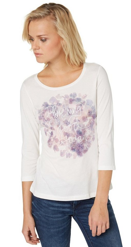 TOM TAILOR T-Shirt »T-Shirt mit Blumen-Print« in whisper white