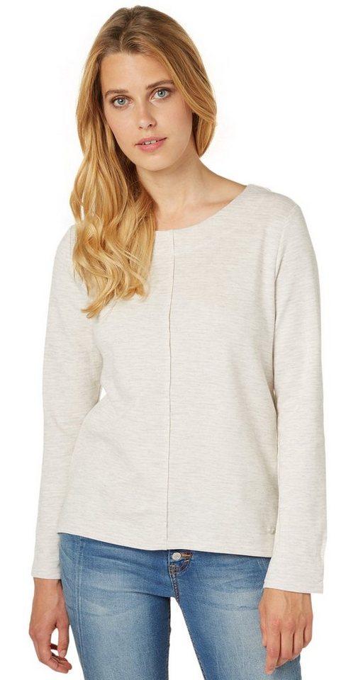 TOM TAILOR Sweatshirt »bequemer Melange-Sweater« in bleached grey melang