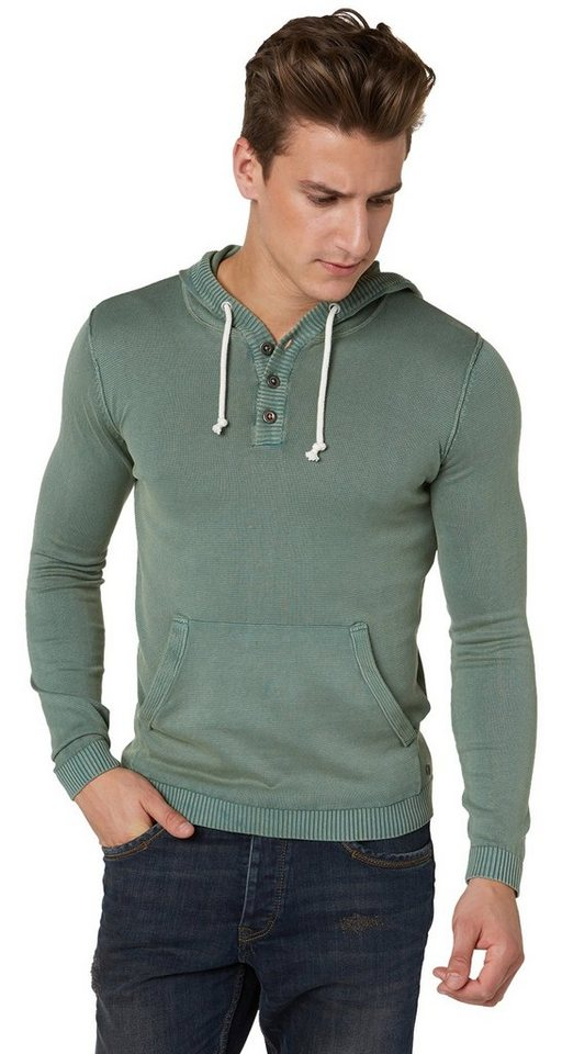 TOM TAILOR Pullover »Hoodie mit Waschung« in pale bark green