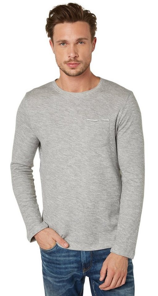 TOM TAILOR T-Shirt »longsleeve tee with pocket« in rock mass grey melan