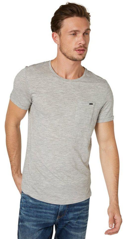 TOM TAILOR T-Shirt »T-Shirt mit Brusttasche« in offwhite melange