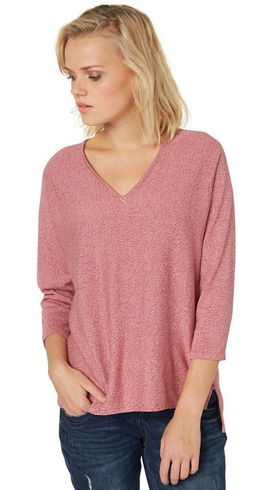 TOM TAILOR Pullover »lockerer V-Ausschnitt Pullover« in Frozen Berry Sorbet