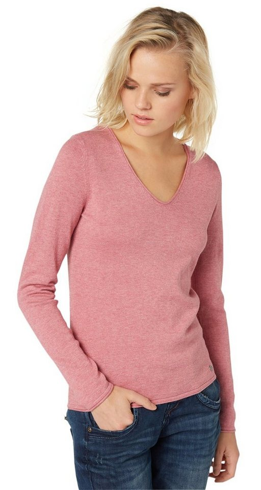 TOM TAILOR Pullover »Basic-Pullover mit V-Ausschnitt« in berry mauve