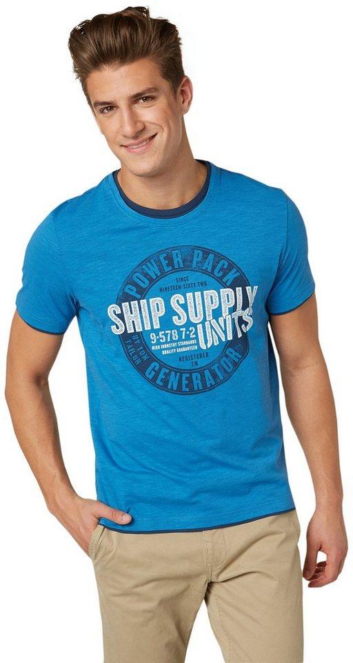 TOM TAILOR T-Shirt »Print-Shirt im Lagen-Look« in dark celeste blue