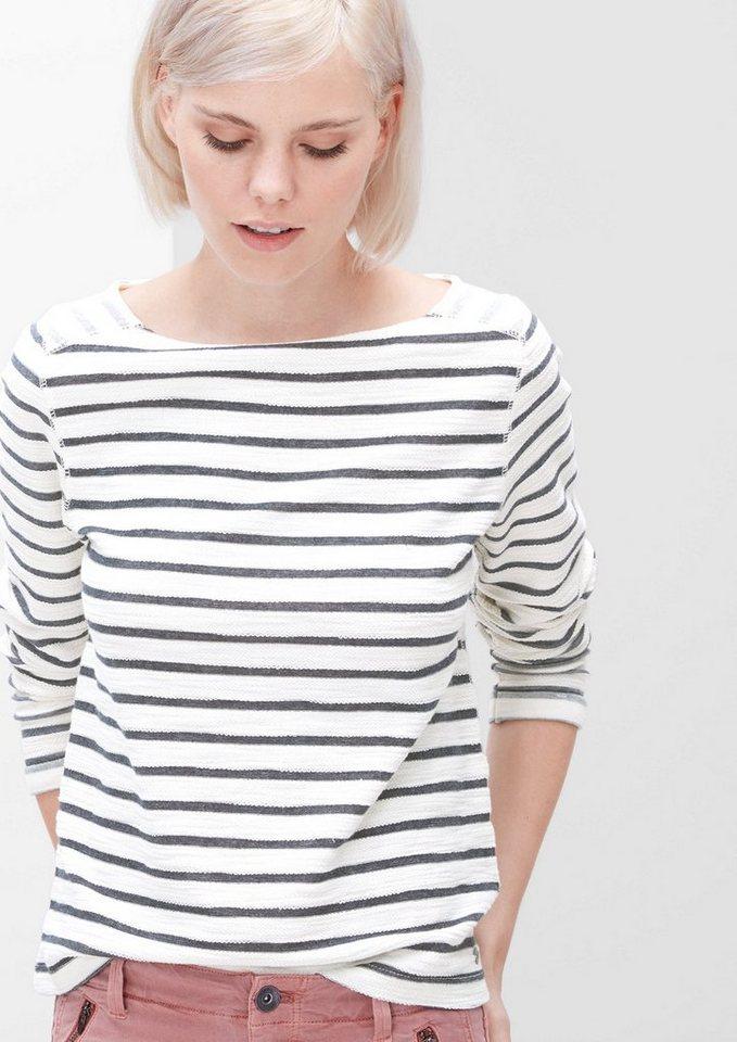 s.Oliver RED LABEL Sweatshirt mit Inside-out-Effekt in navy stripes
