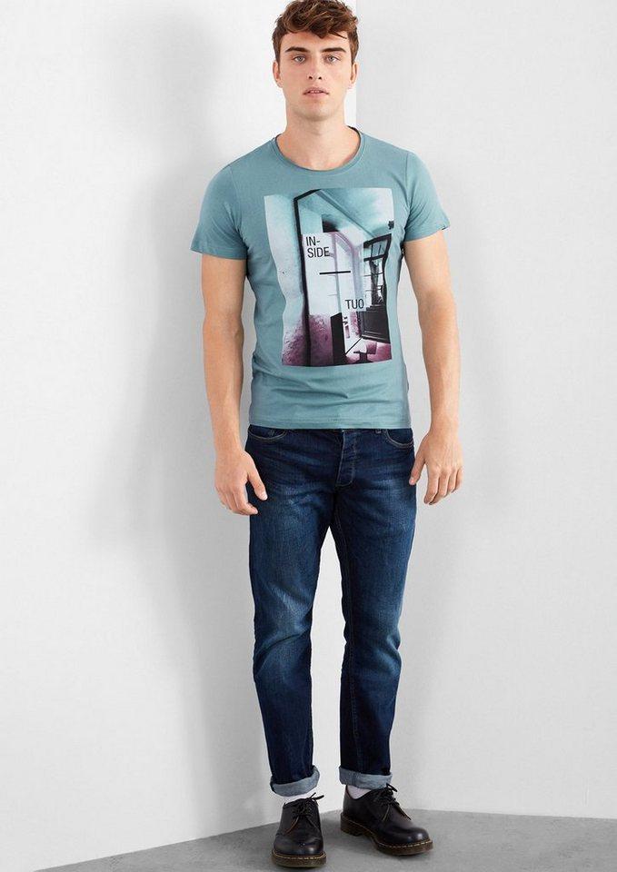 Q/S designed by Shirt mit Fotoprint-Collage in urban blue