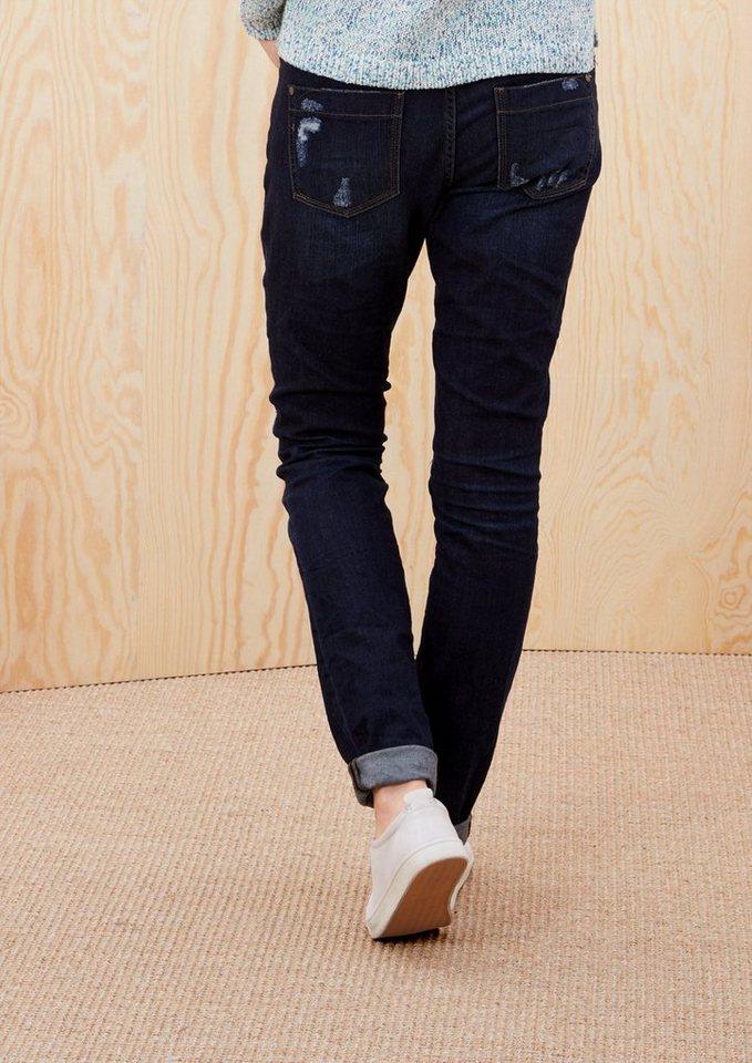 s.Oliver RED LABEL Shape Slim: Destroyed Jeans in dark blue denim stre