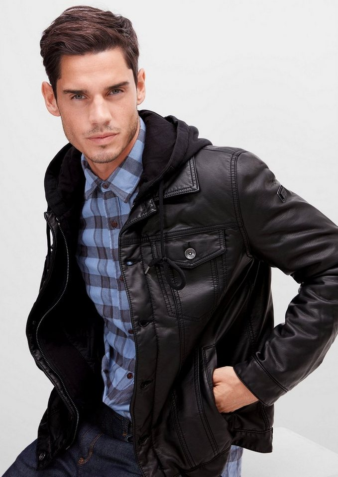 s.Oliver RED LABEL Leder-Look-Jacke mit Kapuze in black