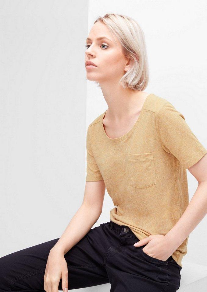s.Oliver RED LABEL Meliertes T-Shirt mit Knöpfen in mustard melange