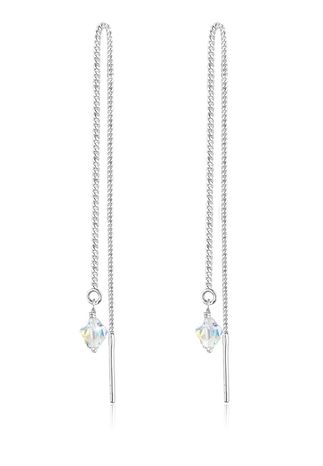 Elli Ohrringe »Swarovski® Kristalle Kette Elegant 925 Silber«