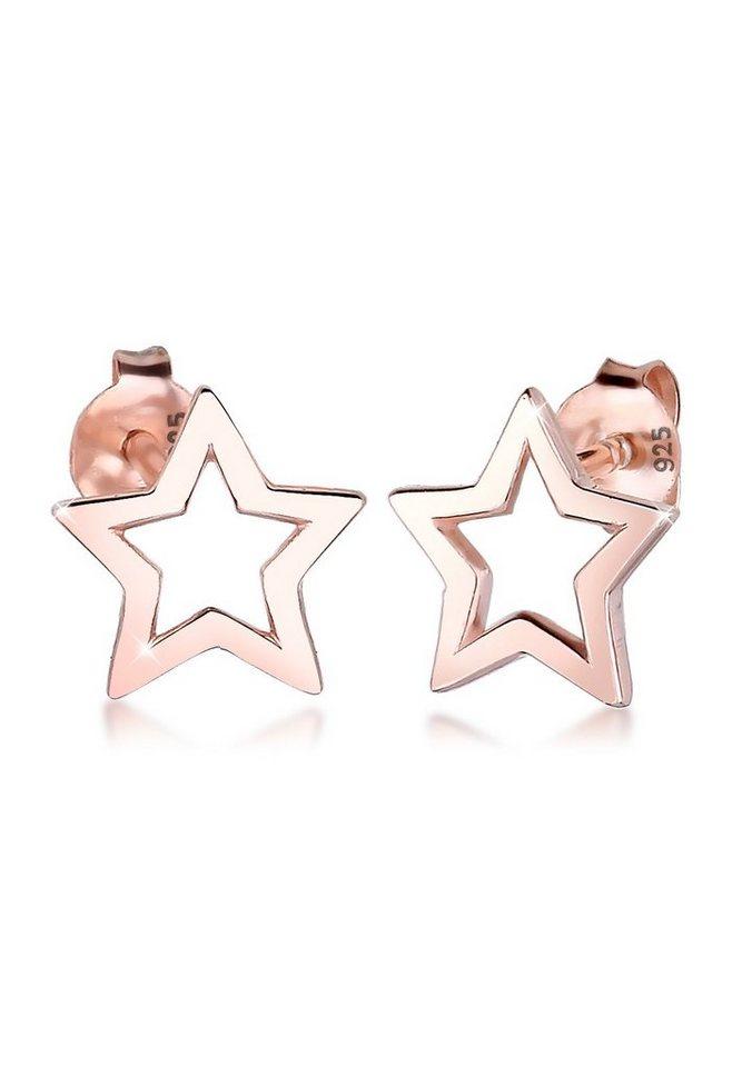 Elli Ohrringe »Stern Sterne Astro Trend Silber rosé vergoldet« in Rosegold