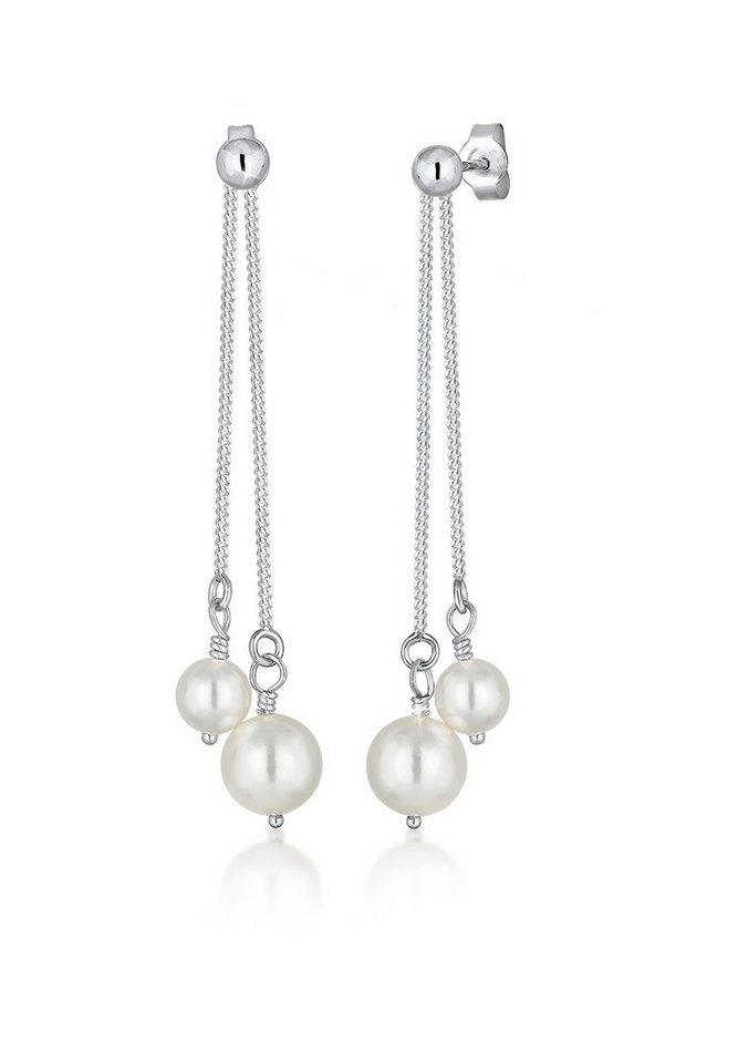 Elli Ohrringe »Perlenohrhänger Swarovski Kristalle« in Weiß