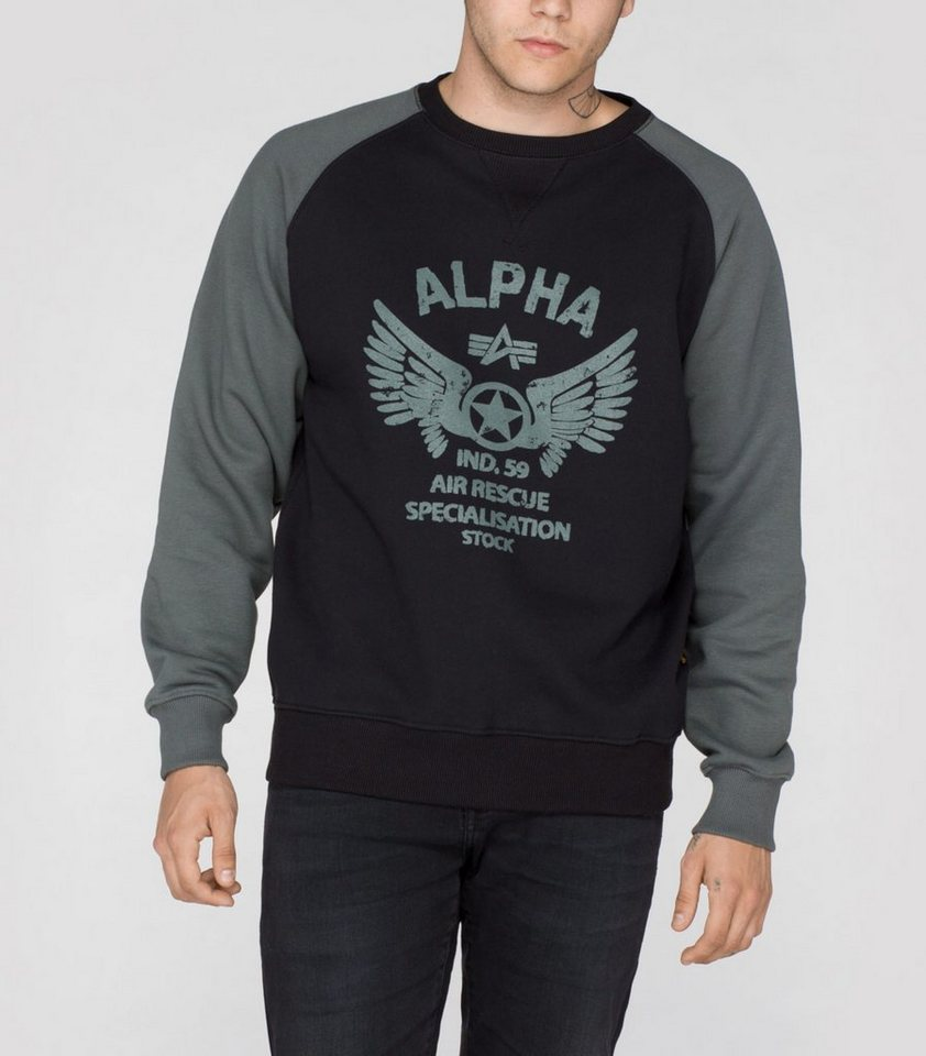 ALPHA INDUSTRIES Sweats »Rescue Crew Neck« in black